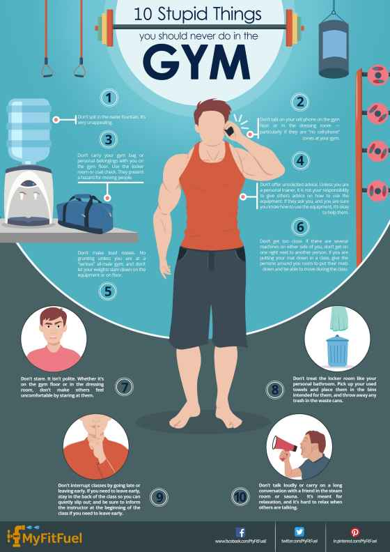 Infographic : 10 Stupid Things you should never do in the Gym