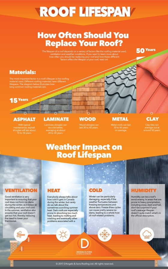 For people who own a home, it's often easy to overlook the importance of roof maintenance and replacement. Indeed, most don't act until a problem strikes. But roofs have a limited lifespan and it's important to know when it's up.  That's why www.dangeloandsons.com created this infographic. They wanted to present this important information to homeowners in a more visual way. They laid the main issues that affect roof lifespan: the kind of materials used (whether it's wood, asphalt, metal or clay shingles) and how different climatic conditions also important the lifespan of a roof.  When choosing a colour for this infographic, they ultimately went with the orange as it was a create match for their brand and then white text, which didn't clash with the overall design. The end result is a simple, visually appealing infographic that leads the eye on a logical path from left to right and then down again.