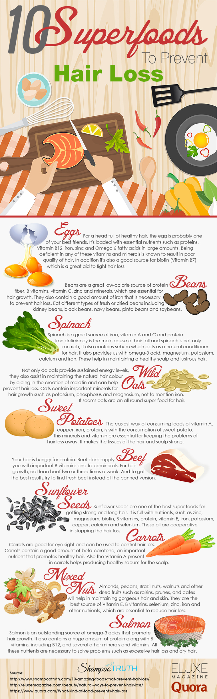 Infographic : 10 Amazing Foods That Prevent Hair Loss